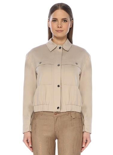 NetWork NetWork 1072964 Pamuklu Basic Fit Ceket Yaka Kadın Manto Bej